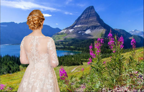 Bride looking at Mountain